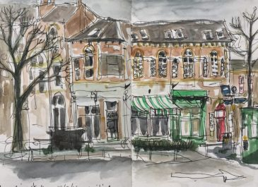 Devonshire Street from SCC car park, Sheffield - urban sketch by Sian Hughes