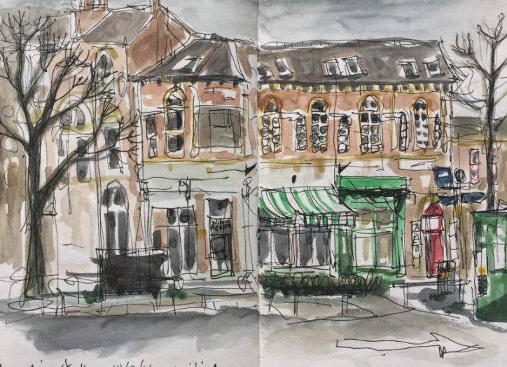 Devonshire Street from SCC car park, Sheffield - urban sketch by Sian Hughes