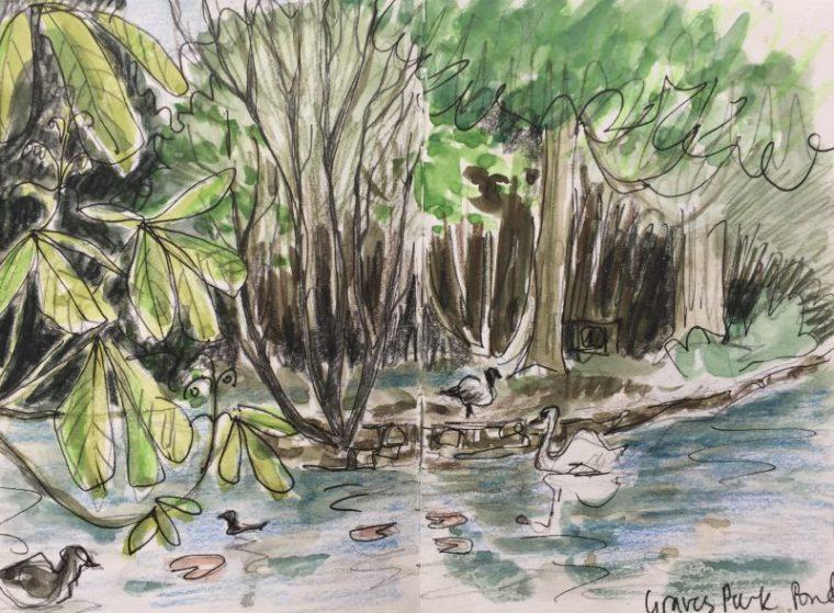Pond at Graves Park, Sheffield - sketch by Sian Hughes
