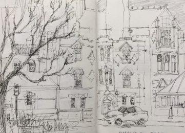Norfolk Street from Tudor Square, Sheffield - urban sketch by Sian Hughes