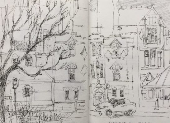 Norfolk Street from Tudor Square, Sheffield - urban sketch by Sian Hughes