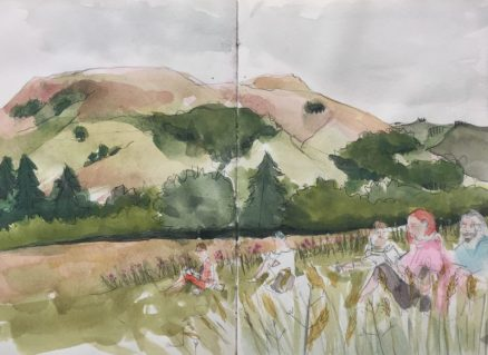 Urban Sketchers Yorkshire at Edale - Peak District sketch by Sian Hughes