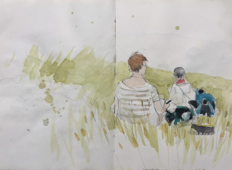 Two urban Sketchers Yorkshire at Edale - Peak District sketch by Sian Hughes