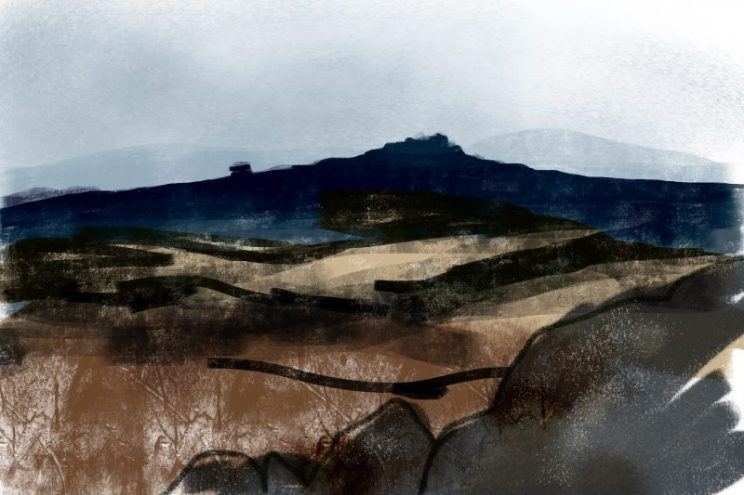 Hathersage Moor, Peak District digital sketch by Sian Hughes