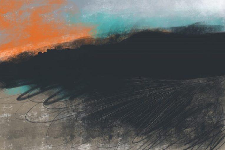 Peak District Moorland Sunset painting by Sian Hughes Art