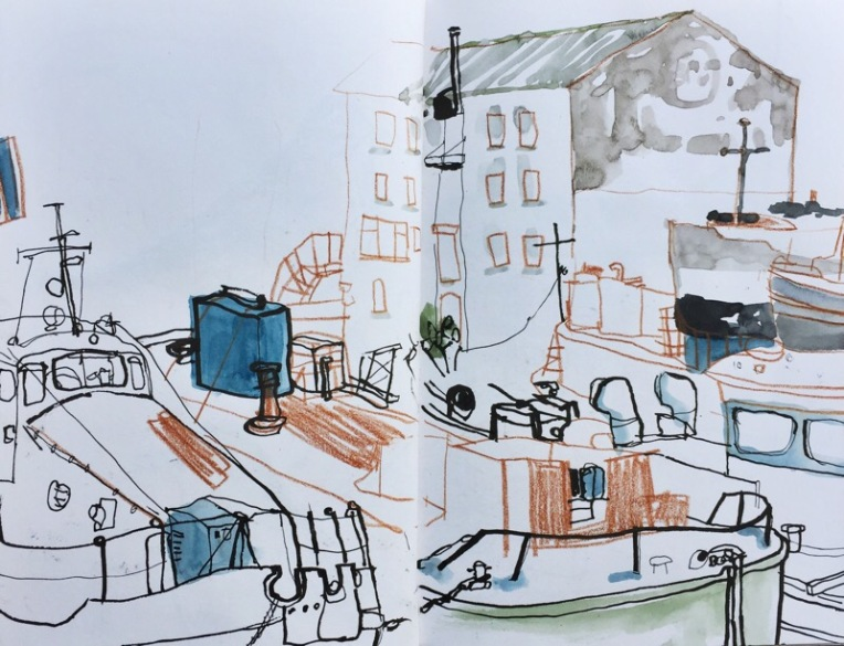 Boatyard at Hepworth Gallery Wakefield, urban sketch by Sian Hughes