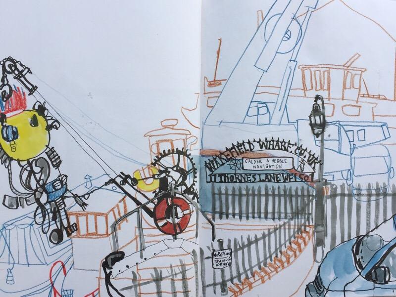 Wakefield Wharf at Hepworth Gallery Wakefield, urban sketch by Sian Hughes
