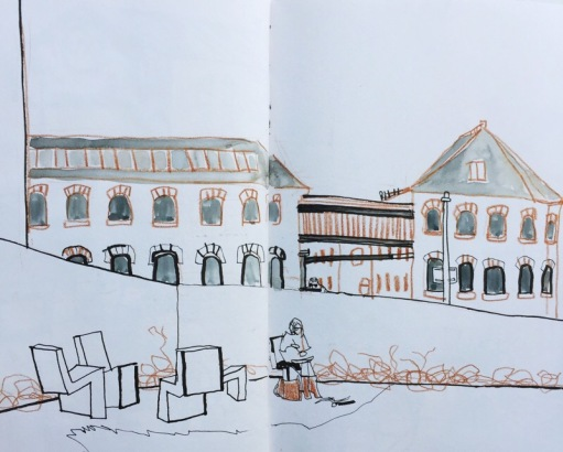 Industrial mill buildings at Hepworth Gallery Wakefield, urban sketch by Sian Hughes
