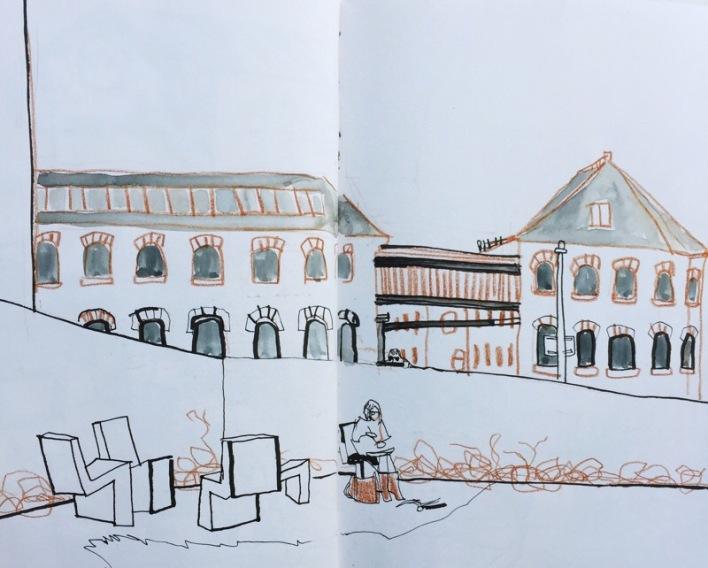 Industrial mill buildings at Hepworth Gallery Wakefield, urban sketch by Sian Hughes