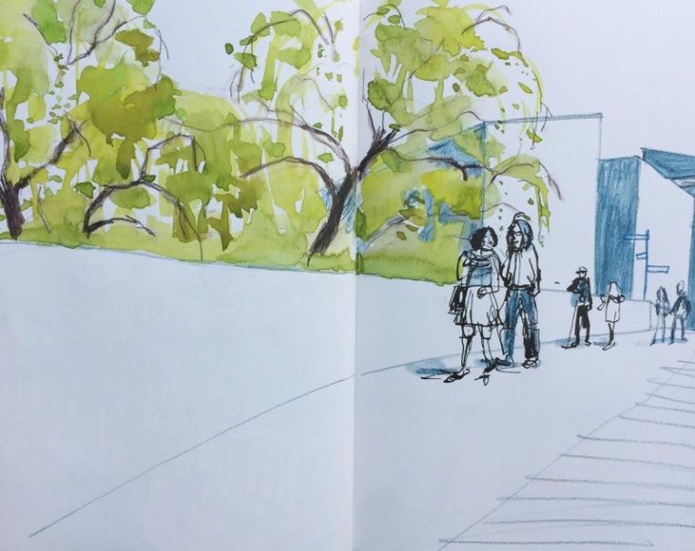 Bridge to Hepworth Gallery Wakefield, urban sketch by Sian Hughes