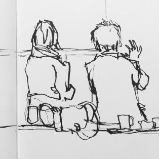 Lunch break at Hepworth Gallery Wakefield, urban sketch by Sian Hughes
