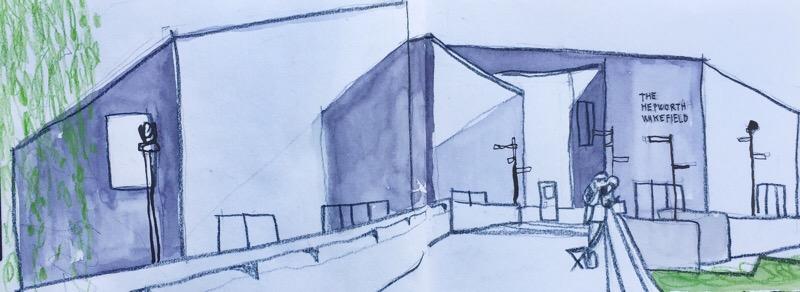 Hepworth Gallery Wakefield, urban sketch by Sian Hughes
