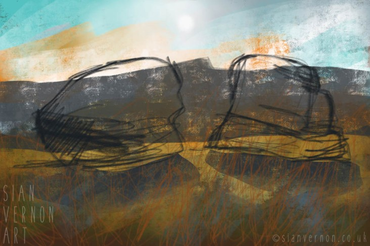 Carl Wark, Peak District Landscape Painting - digital abstract art by Sian Vernon