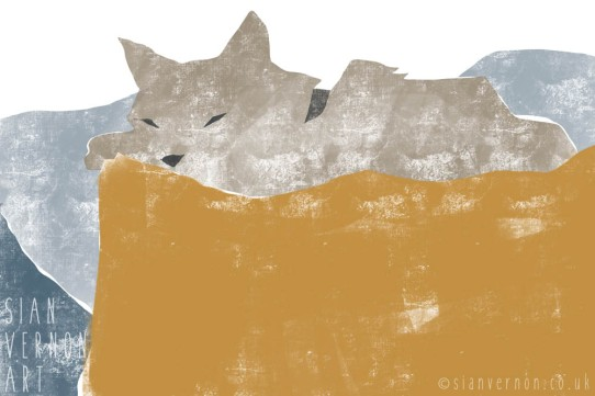 Cat sleeping, cat greeting card - digital art by Sian Vernon