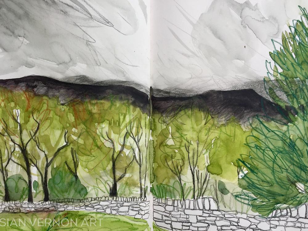 Rain approaching Longshaw, Peak District, Art by Sian Vernon