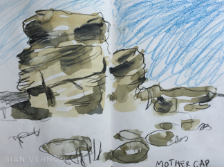 Mother Cap, Peak District art - sketch by Sian Vernon