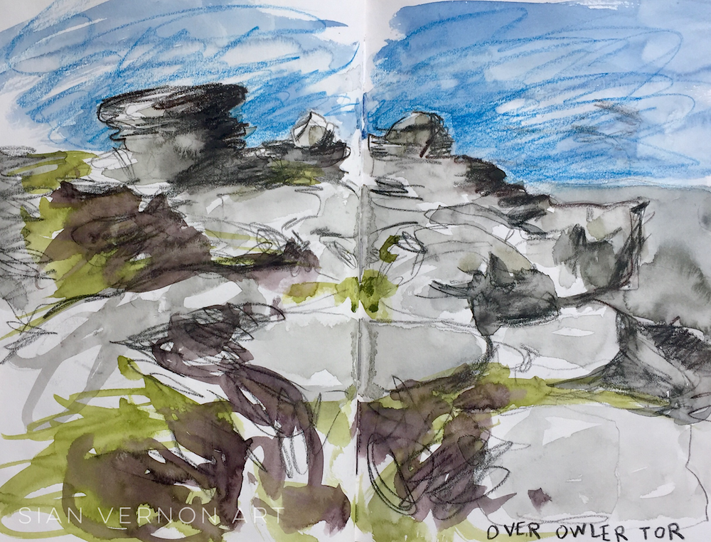 Over Owler Tor Peak District Art, sketch by Sian Vernon artist