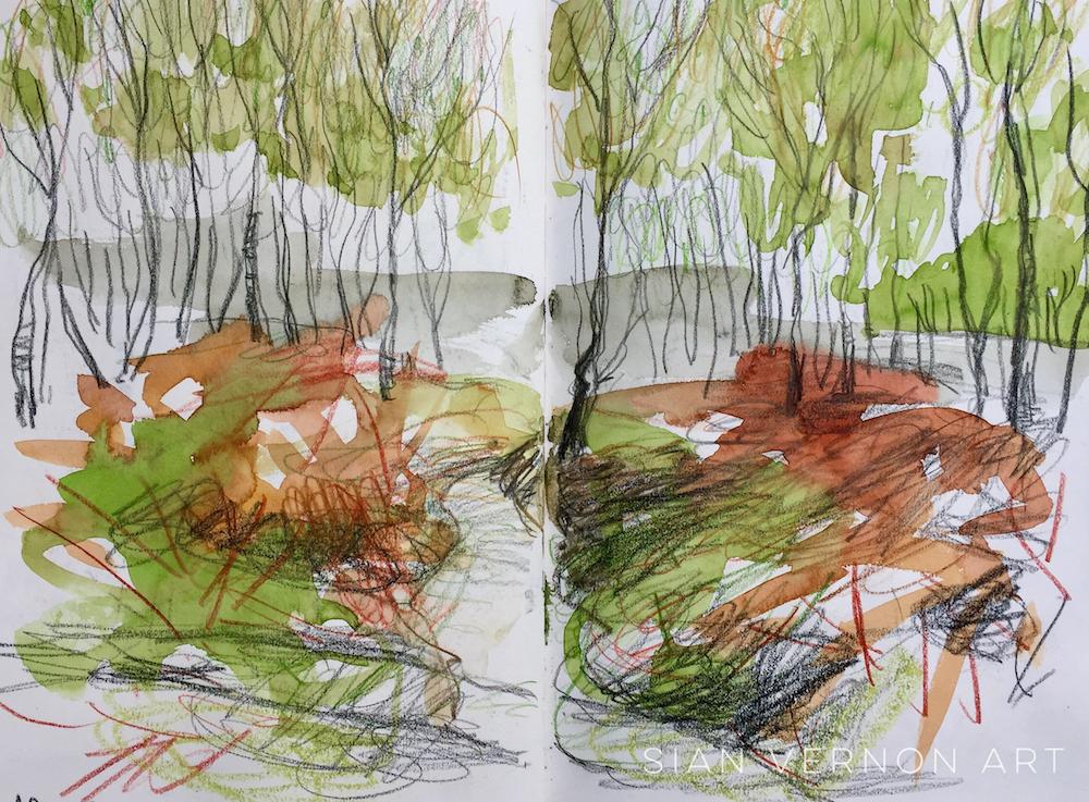 Approach to Secret Garden (Hathersage) Peak District, sketch by Sian Vernon
