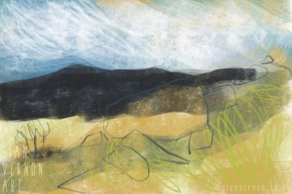 Peak District Longshaw Landscape Painting - digital art by Sian Vernon