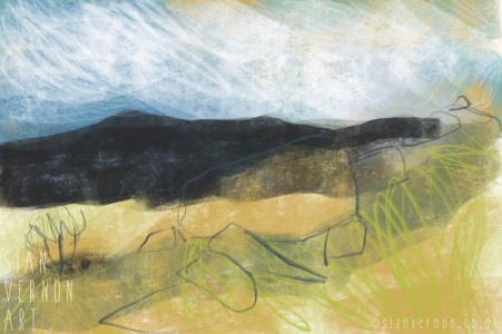 Peak District Longshaw Landscape Painting - digital art by Sian Vernon