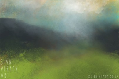 Peak District Landscape Painting - Storm at Longshaw. Original art by Sheffield artist Sian Vernon