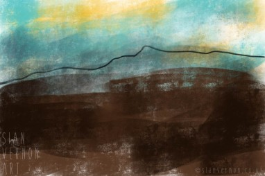 Stanage Moor, Peak District Abstract Landscape Painting - digital art by Sian Vernon