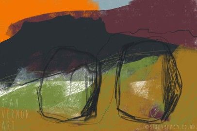 Standing Stones Carl Wark, Peak District Abstract Landscape Art - digital painting by Sian Vernon