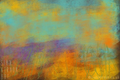 Sundown, Peak District Abstract Landscape Art - digital painting by Sian Vernon