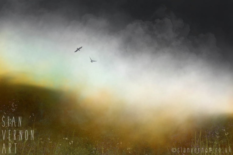 Moorland Mist and Cotton Grass - Peak District painting, original digital art by Sheffield artist Sian Vernon