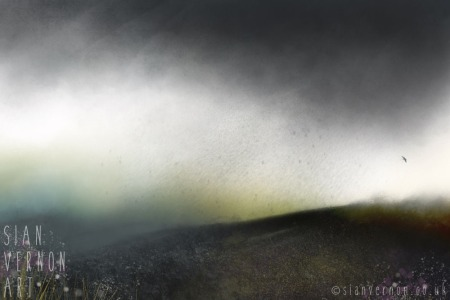 Summer rain and red grouse - original digital landscape painting by Sheffield artist Sian Vernon