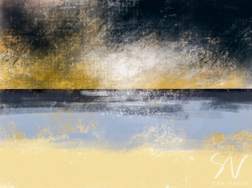 Sunlight on the North Sea at Danes Dyke, East Yorkshire - digital sketch by Sheffield artist Sian Vernon