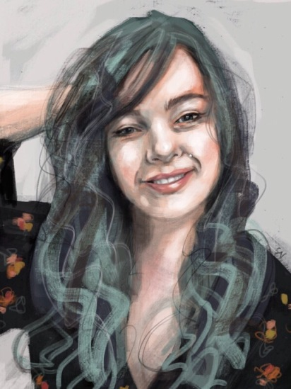 Chokeberry with green hair, digital painting, portrait by artist Sian Vernon