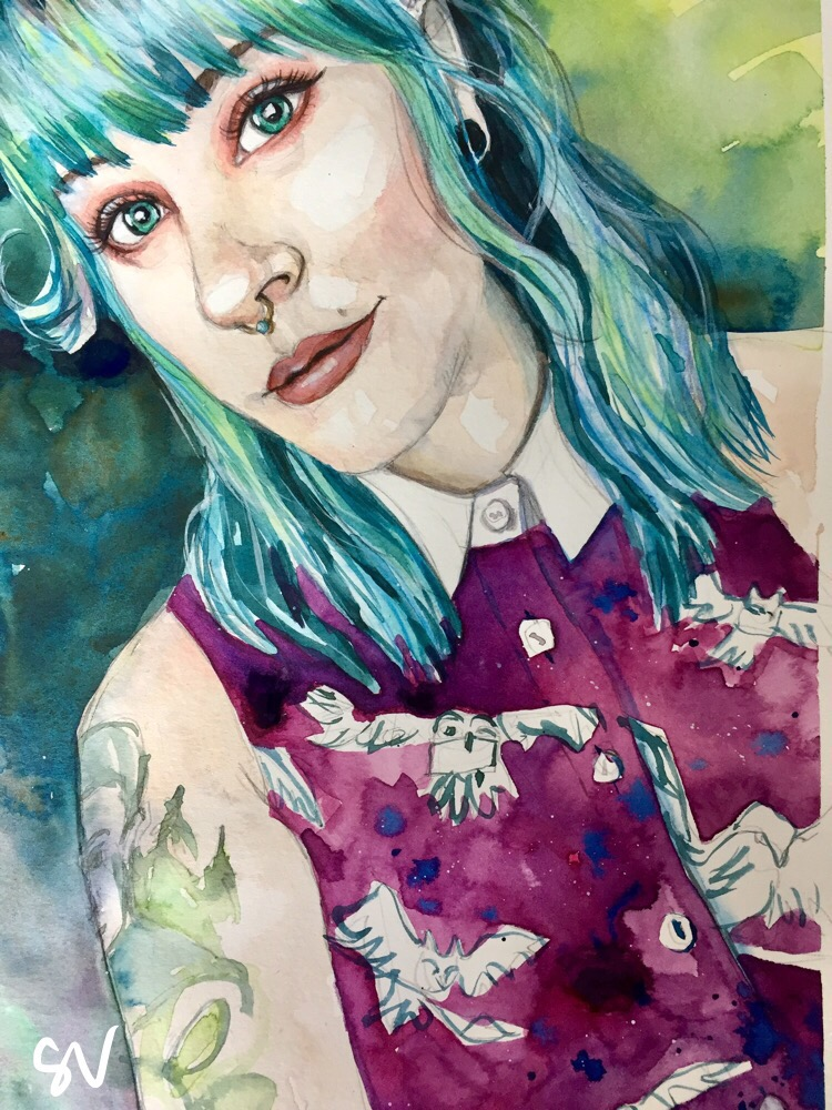 Watercolour portrait painting of Stoneylittlemermaid by portrait artist Sian Vernon