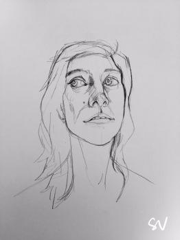 Graphite pencil line sketch by portrait artist Sian Vernon