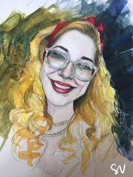 Watercolour portrait painting rockabilly style by portrait artist Sian Vernon