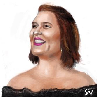 Kat Korpi portrait digital painting by portrait artist Sian Vernon