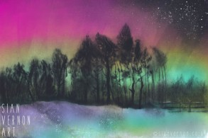 Northern Lights over Ringinglow - Peak District art by Sian Vernon