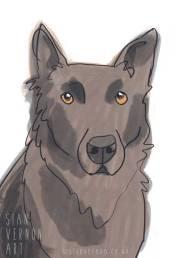 German Shepherd Digital Dog Portrait by Sian Vernon Art