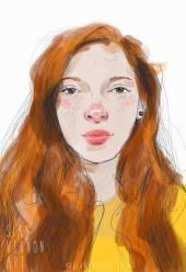 Portrait of girl with red hair by Sian Vernon Art