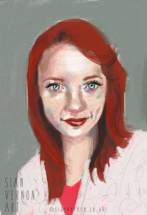 Portrait of woman with red hair by Sian Vernon Art