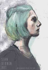 Portrait of girl with green hair by Sian Vernon Art