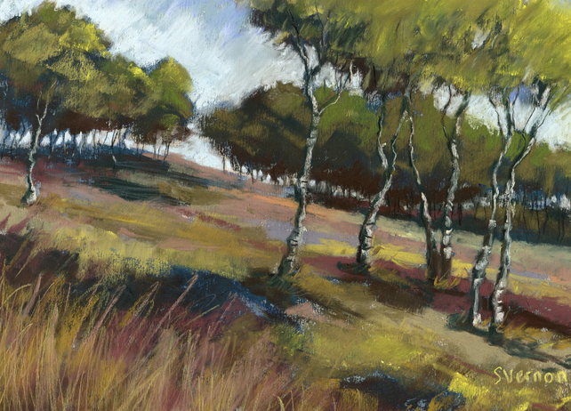 Birch Trees Hathersage Moor, original Peak District landscape painting for sale