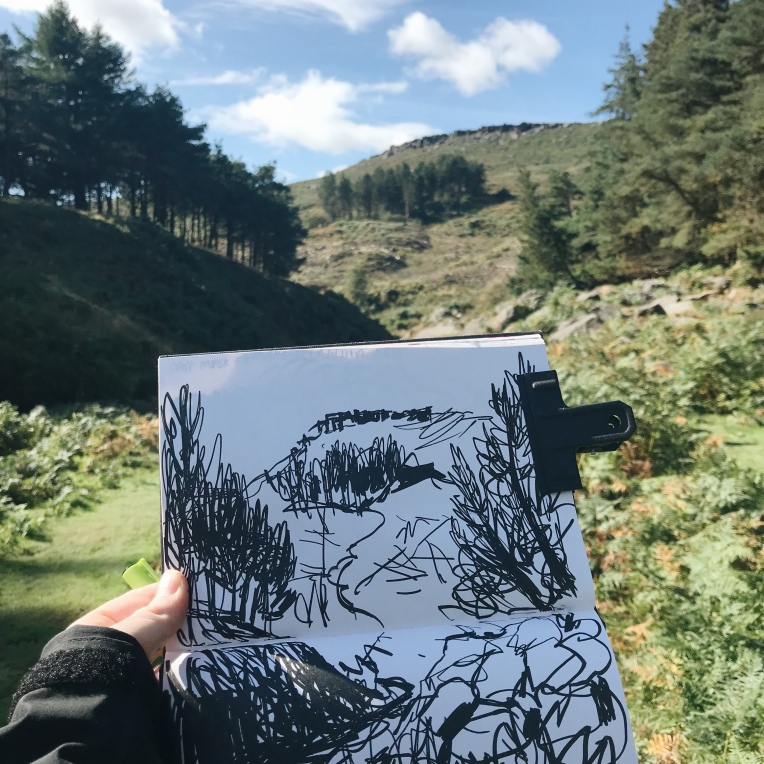 Sketching Higger Tor from Burbage Brook, Peak District artist