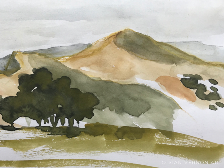 Lose Hill sketch, Peak District art
