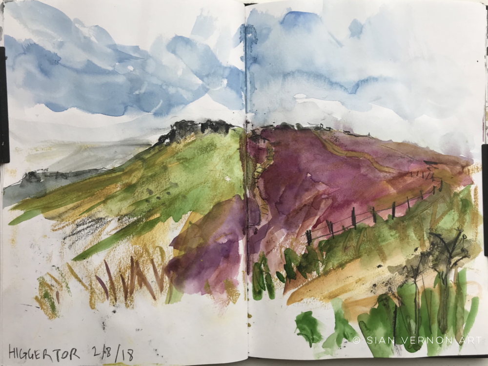 Higger Tor sketch, Peak District art