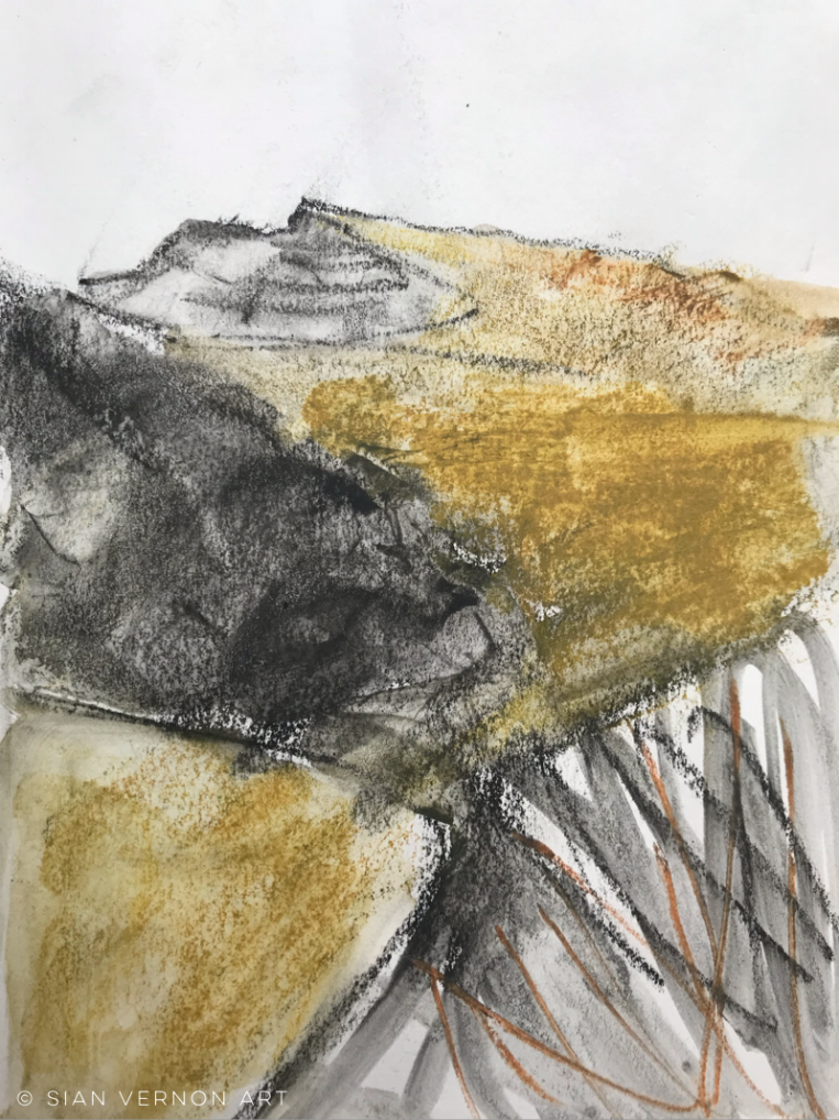 Mam Tor sketches from Odin mine, Peak District art