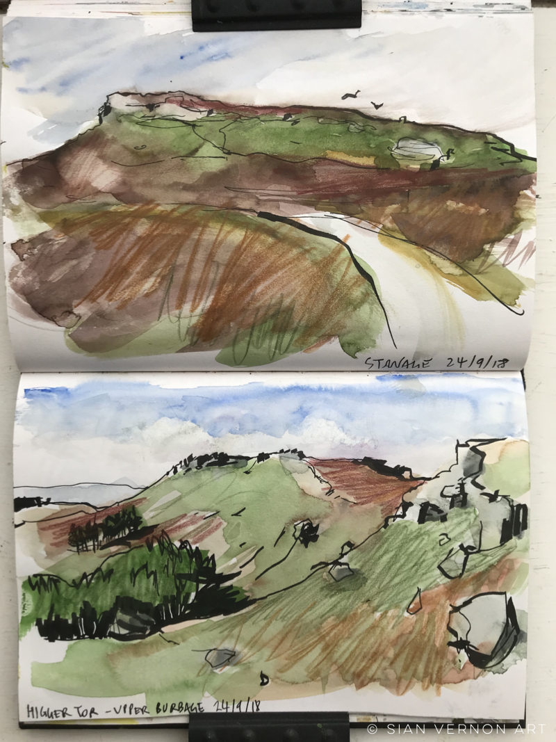 Sketchbook, Higger Tor and Stanage, Peak District art