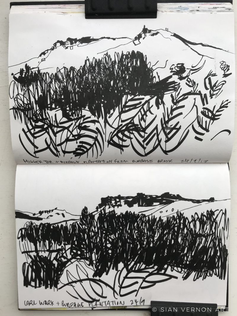 Sketches of Higger Tor and Carl Wark from Burbage Brook, Peak District art