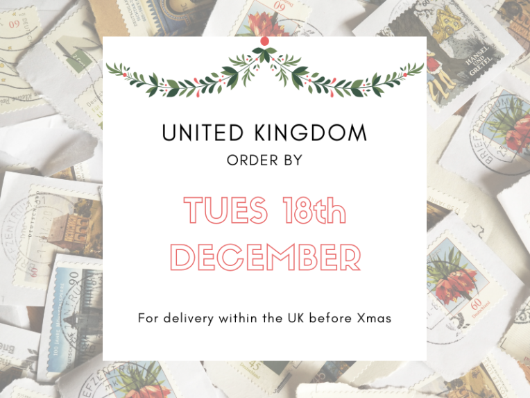Last order date for UK Xmas delivery is TUES 18th DEC 2018
