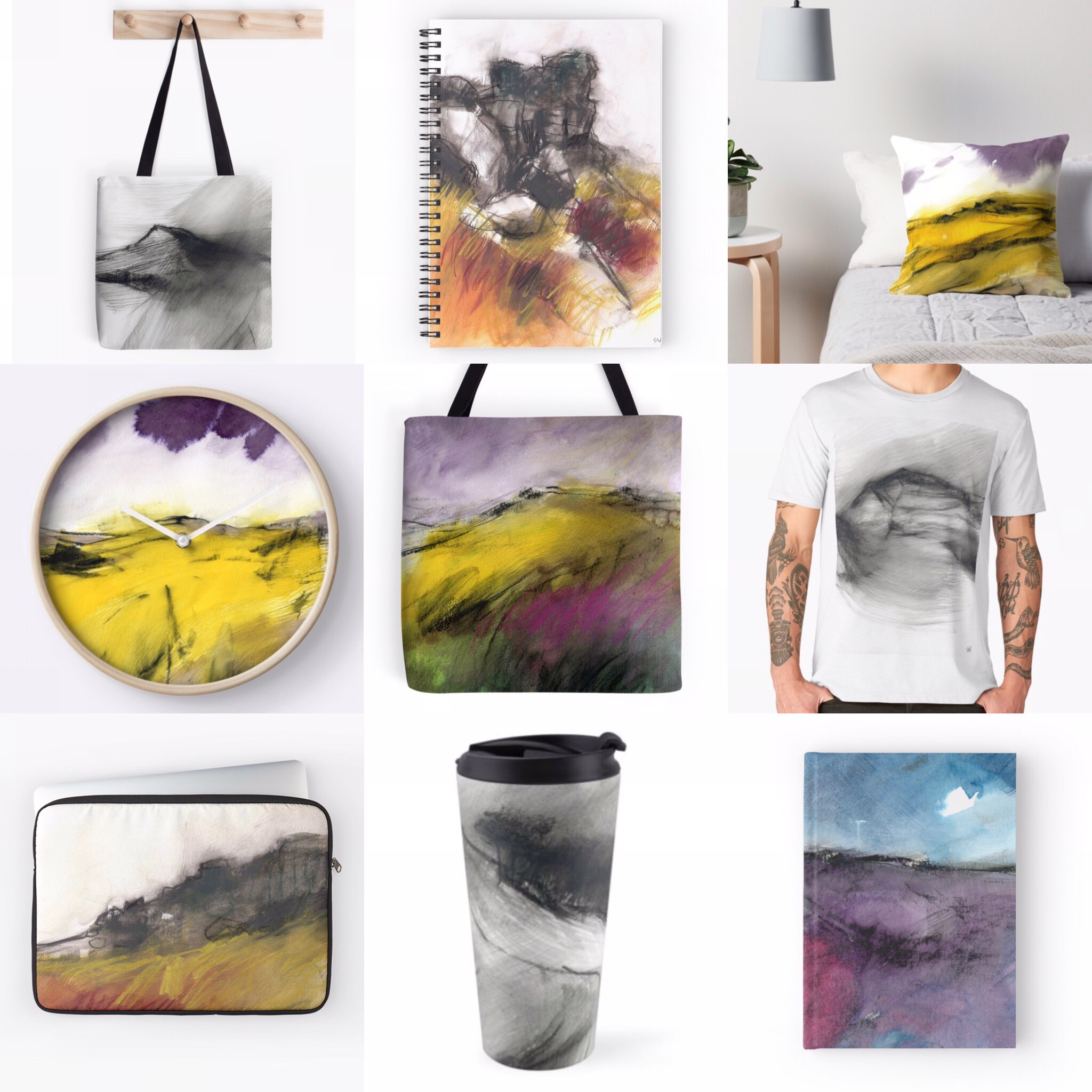 Some of the Peak District gifts, homewares and stationery available to buy on Redbubble by Sheffield artist Sian Vernon